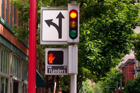 Stop sign downtown street corner  photo