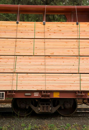 Lumber loaded on railcar for delivery