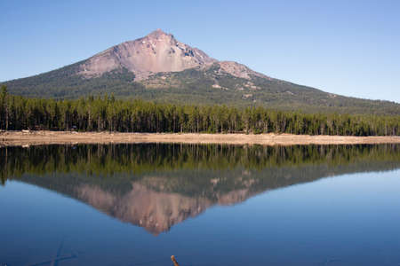 four peaks wilderness: Four Mile Lake shows a nearly perfect reflection for Mt McLoughlin