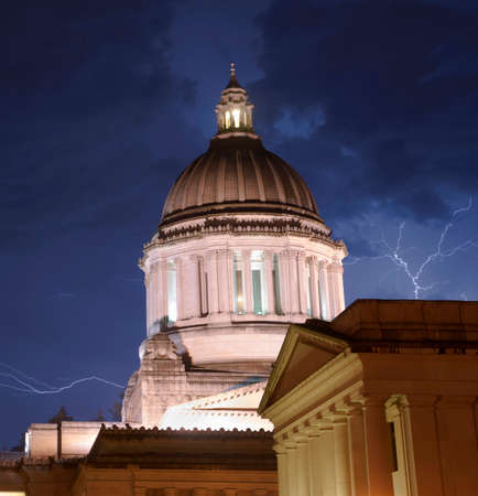 inclement weather: The Government Building in Olympia stands tall during a thunderstorm and inclement weather
