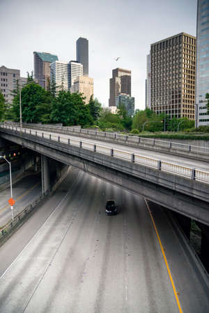 A maze of viaducts and overpasses make sure traffic flows around Seattle, Washington Stock Photo - 22926119