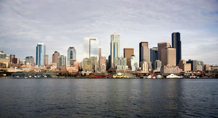 The view of Seattle from the lower deck of an eastbound ferry boat photo