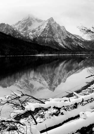 One of the high mountains around Lake Stanley in winter near Sun Vally Idaho photo