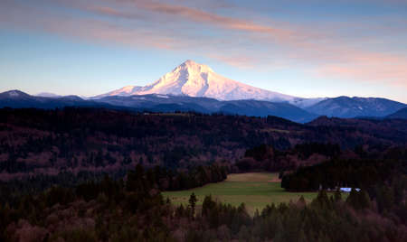 mt hood national forest: Mount Hood and the Valley near Sandy Oregon Northwestern Landscape Stock Photo
