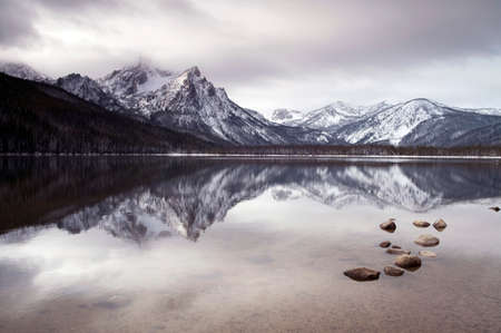 One of the high mountains around Lake Stanley in winter near Sun Vally Idaho