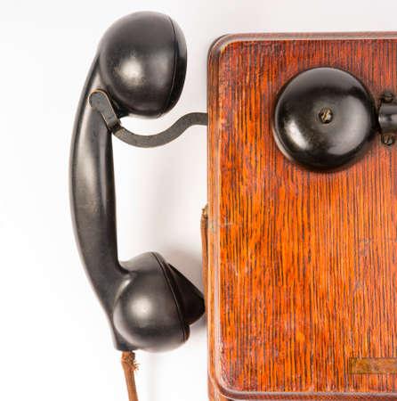 handset: Oak Telephone box Handset and Ringer Vintage Communication Tool