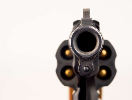 pointed: Close up Barrel Snub Nose Revolver Gun Weapon pointed at You Stock Photo