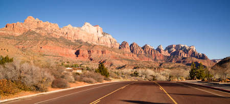 Two Lane Road Highway Travels Desert Southwest Utah Landscape photo