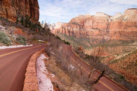 Beautiful overlook down on the road back into Zion National Park photo