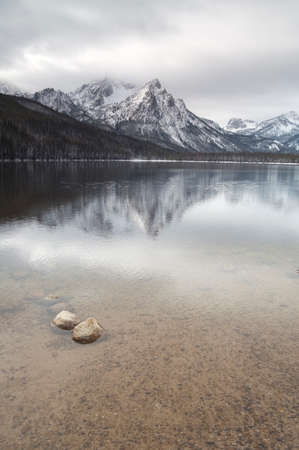 sawtooth national forest: A calm winter day at Lake Staley showing the Sawtooth Range Stock Photo