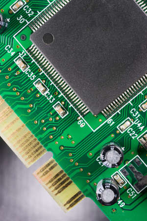 Close up macro view of a computer component
