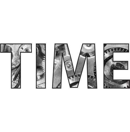 time over: A clipping mask saying time over a pocket watch image Stock Photo