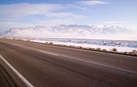 Its cold and bright along this patch of road in the Western USA photo