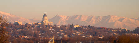 wasatch: Salt Lake City with the Wasatch Mountain Range showing through the pollution