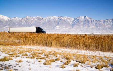 wasatch: Snow Covered Mountains Behind Lakeside Highway PLant Growth Utah Landscape