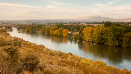 meanders: The Yakima River meanders through rich farmland Stock Photo
