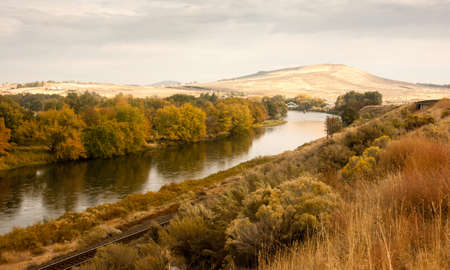washington landscape: The Yakima River meanders through rich farmland Stock Photo