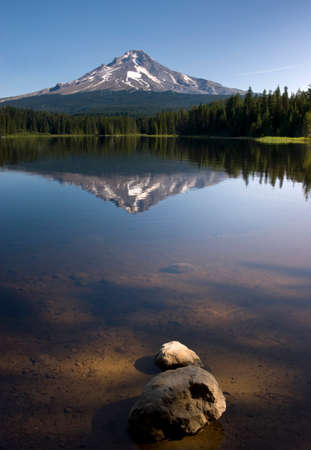 Late afternoon sun warm Mount Hood above Trillium Lake