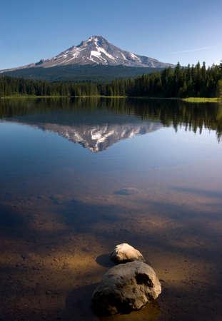 trillium lake: Late afternoon sun warm Mount Hood above Trillium Lake