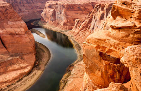 The Colorado River Meanders Cutting into What Becomes the Grand Canyon Foto de archivo