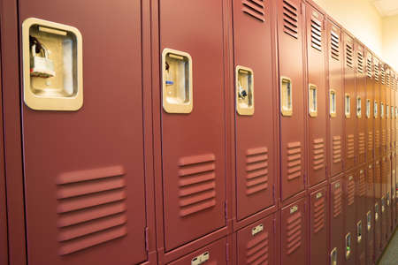 A row of locked starage lockers horizontal composition photo