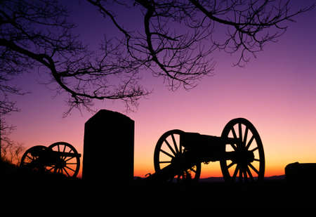 gettysburg battlefield: Relics from prior American War sit in the sunset