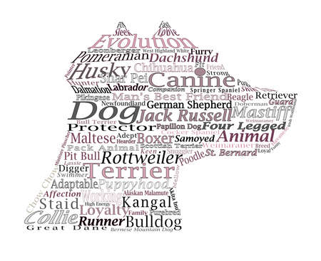 Canine Themed Dog Word Cloud Typography Illustration illustration