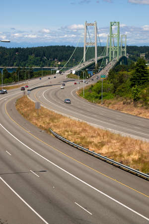 The Tacoma Narrows Bridge carried drivers form the mainland to Gig Harbor and the Olympic Peninsula.  photo