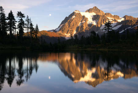 cascade range: Mt. Shuksan refelcted in Picture Lake at sunset.