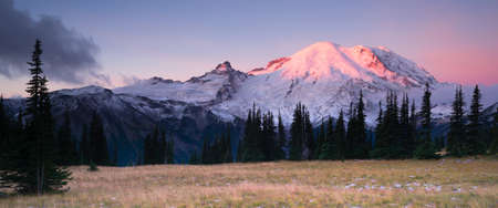 Smokey Sunrise Mt Rainier National Park Cascade Volcanic Arc