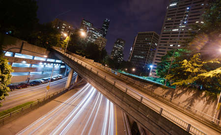 A long exposure at night over the expressway in Seattle Washington photo