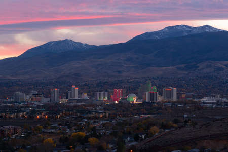 The lights illuminate the sky and the city here in Reno photo