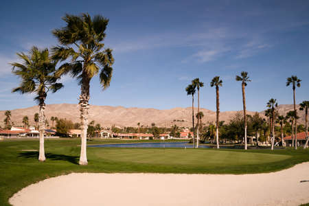 golf of california: A beautiful hole on the hillside in the desert Stock Photo