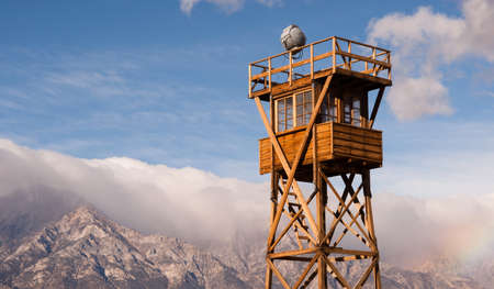 Guard Tower Searchlight Manzanar National Historic Site California Imagens - 35064600