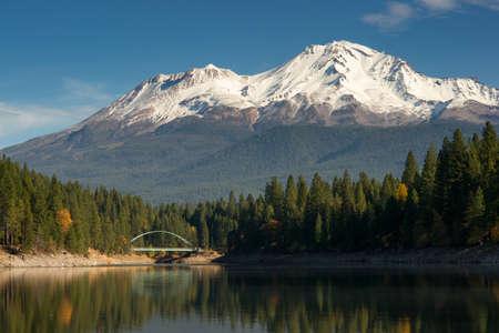 dramatic sunrise: Mount Shasta standing above Lake Siskiyou
