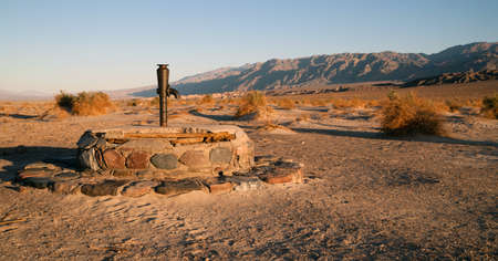 water well: Hardware from a historic well still lives in Death Valley National Park Stock Photo
