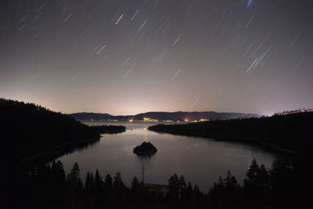 rotates: Stars make trails in the sky as the Earth rotates at night