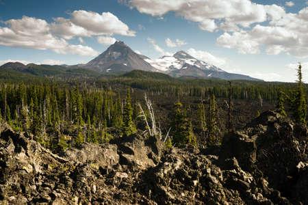 three sisters: Mckenzie Pass Three Sisters Cascade Mountain Range Lava Field