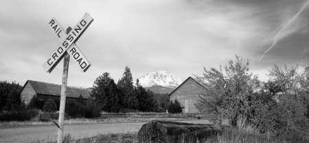cascade range: A black and white representation of a rural scene in high mountains of California Stock Photo