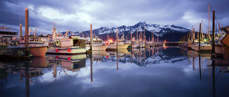 Its very calm with no one around in Seward in the Land of the Midnight Sun