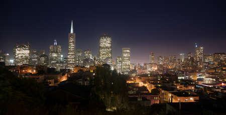 glows: Beautiful Light Glows Over Neighborhood Homes Buildings San Francisco California
