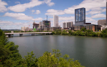 capital of colorado: Urban development continues along the river in Downtown Austin, Texas