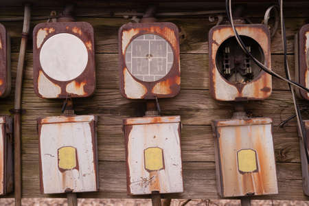 Electrical boxes exposed outside rust away going unused