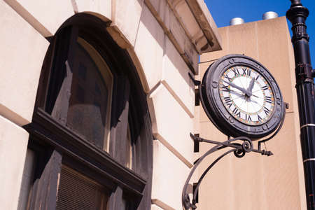 corner clock: Its still lunchtime according to the corner clock downtown