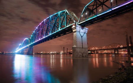 The Big Four Bridge is a sixspan former railroad truss bridge that crosses the Ohio River connecting Louisville Kentucky and Jeffersonville Indiana United States