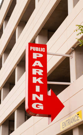 advertises: A highrise parking garage advertises for you downtown