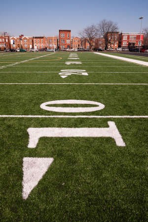 The 10 yard line on an inner city gaming field