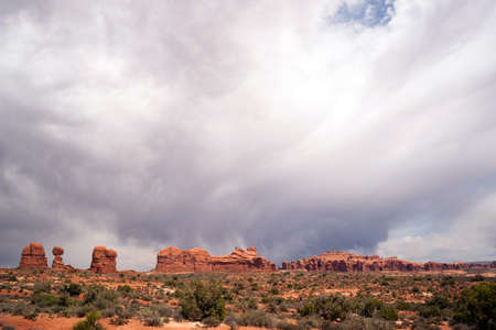 compostion: A horizontal compostion of rock buttes before it rains in the Utah Wilds