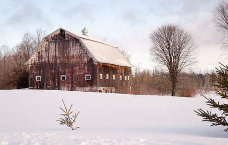 a rural community: Fresh snow sits on the ground around an old barn