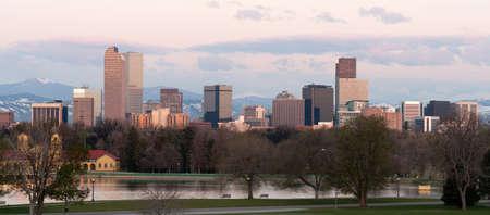 denver skyline: City Park Denver Downtown Skyline Lake Sunrise Cityscape Stock Photo